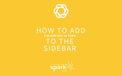 How to Add a Bloom Opt-in Form to the Sidebar