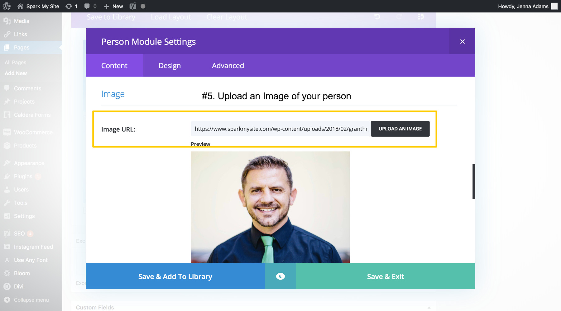 Divi Tutorials: How to Use the Person Module - Spark My Site